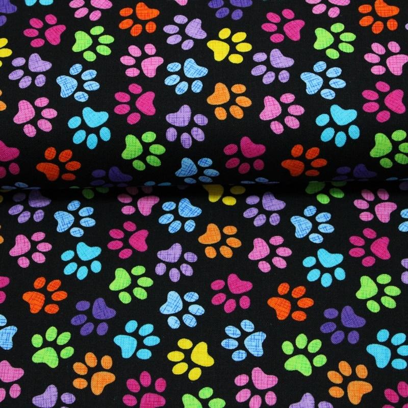 Patchwork Baumwolle - Timeless Treasures - Pfotenabdrücke in Neonfarben auf Schwarz Reststück 100cm