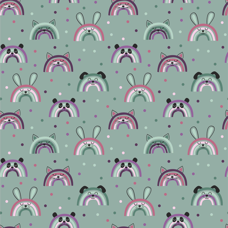 Baumwolljersey - Jersey Stoff - Regenbogen Tiere auf Minze