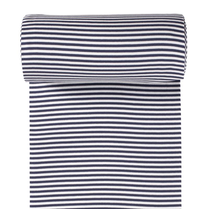 Ringelbündchen - Bündchen Stoff Glatt Streifen - Navy/Weiß