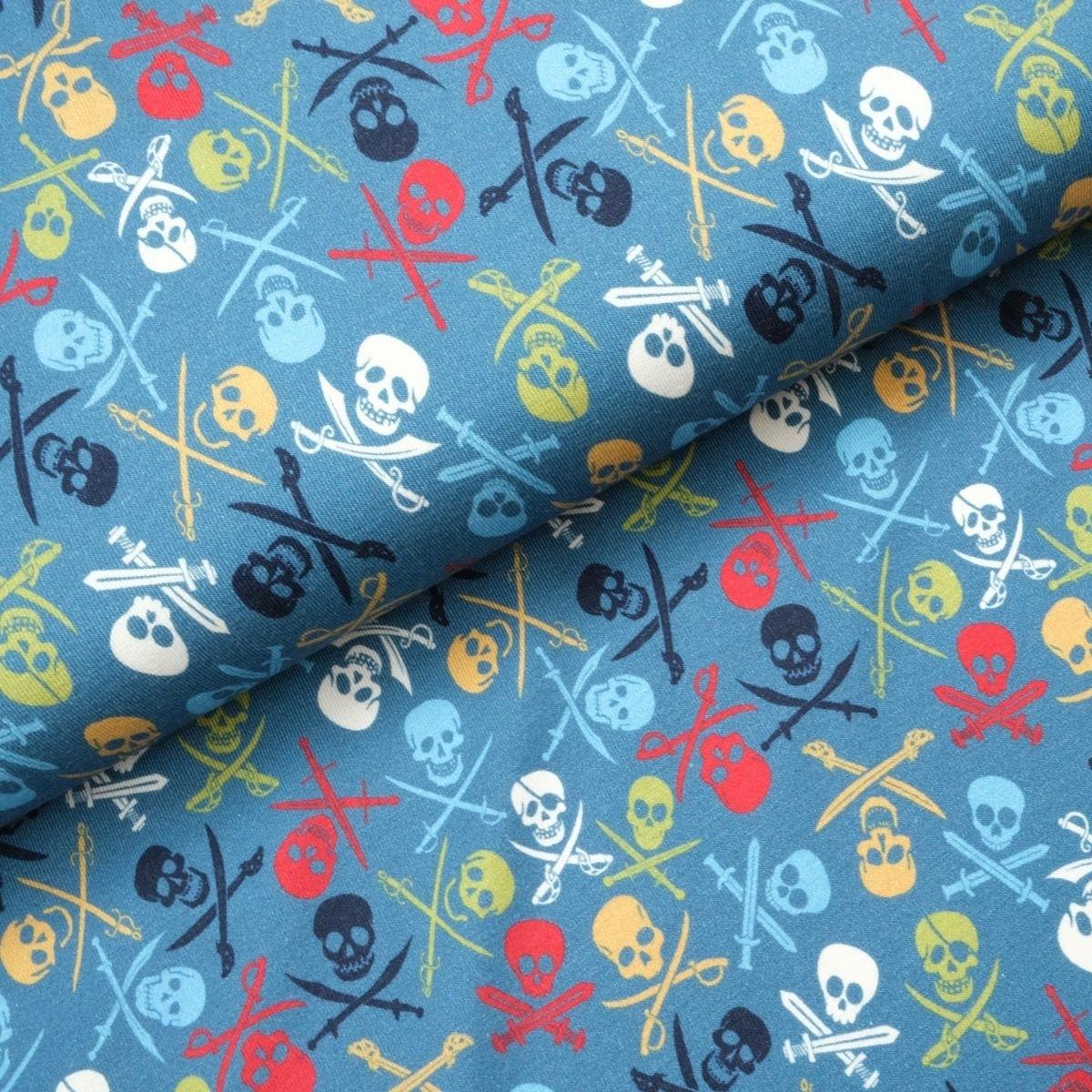Baumwolljersey - Jersey Stoff - Motivjersey - Totenköpfe auf Jeans Reststück 100cm