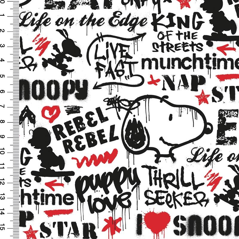 Baumwolljersey - Motivjersey - Lizenz - Peanuts - Snoopy - Graffiti Star - GOTS zertifiziert - Weiß