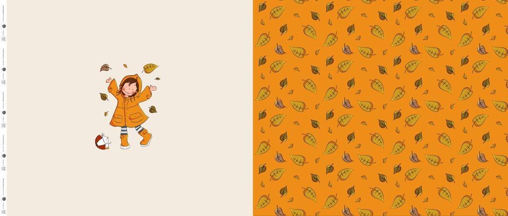 Sommersweat Stoff - French Terry - Herbstmädchen by emmapünktchen - Panel - 63cm x 150cm