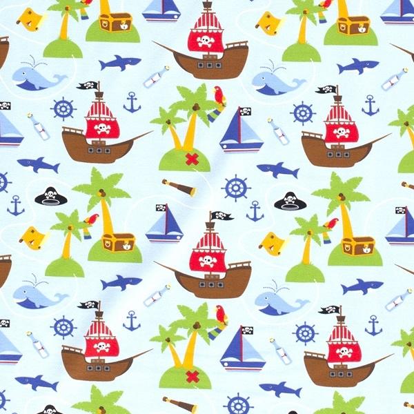 Baumwolljersey Stoff - Motivjersey - Maritim - Piraten auf Babyblau