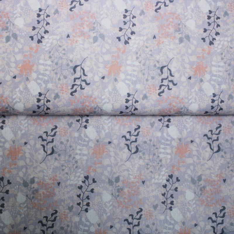 Baumwolle - Baumwoll Stoff - Blumen auf Flieder