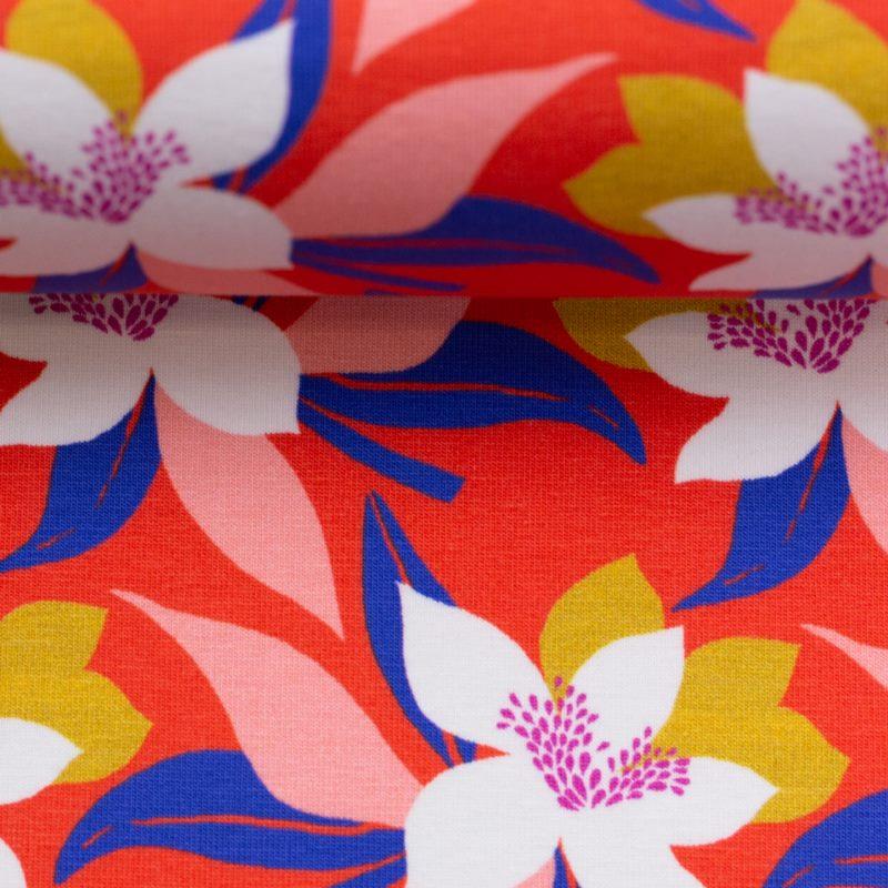 Baumwolljersey - Jersey Stoff - Motivjersey - Swafing - Tropical Forest - Blumen auf Rot