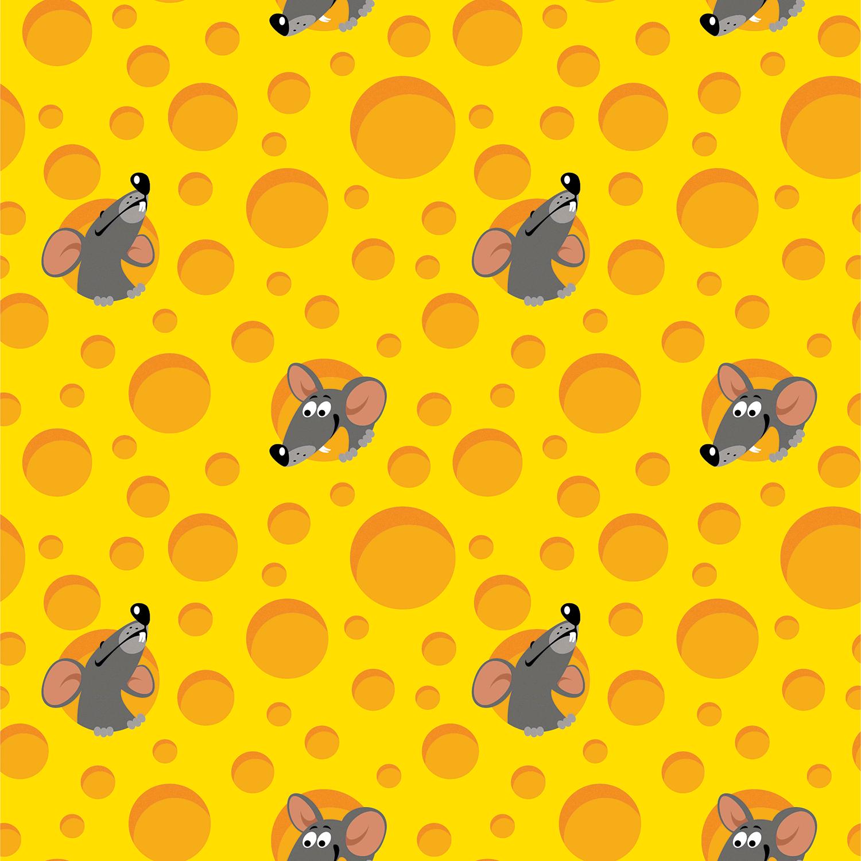 Baumwolljersey - Jersey Stoff - Mäuse und Käse auf Gelb