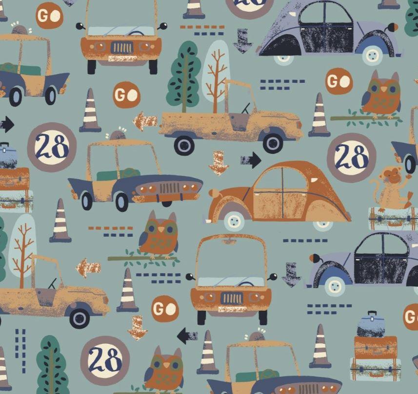 Baumwolljersey - Jersey Stoff - Motivjersey - Digitaldruck - Fahrzeuge und Tiere auf Dunkles Altgrün