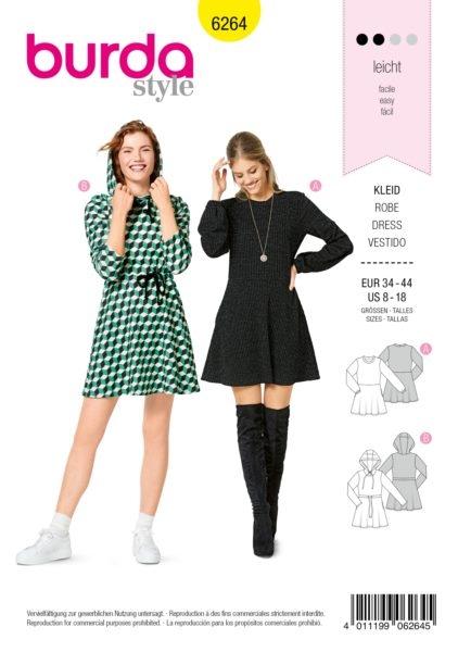 Burda Style 6264 Schnittmuster Kleid (Damen Gr. 34-44) Level 2 leicht
