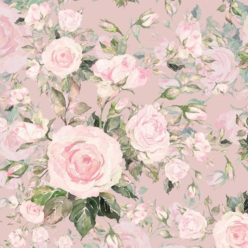 French Terry - Motiv - Digitaldruck - Süße Rosen auf Rosa