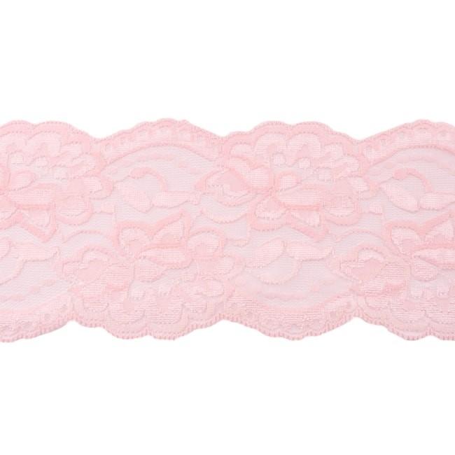 Elastische Spitze - 9,5 cm - Hell - Rosa
