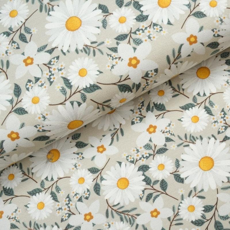 Baumwolljersey - Jersey Stoff - Motivjersey - Gänseblümchen auf Offwhite