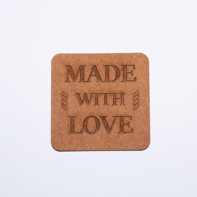 """Schnuckidu  - Label zum Annähen - SnapPap - Schriftzug - """"Made with Love"""""""