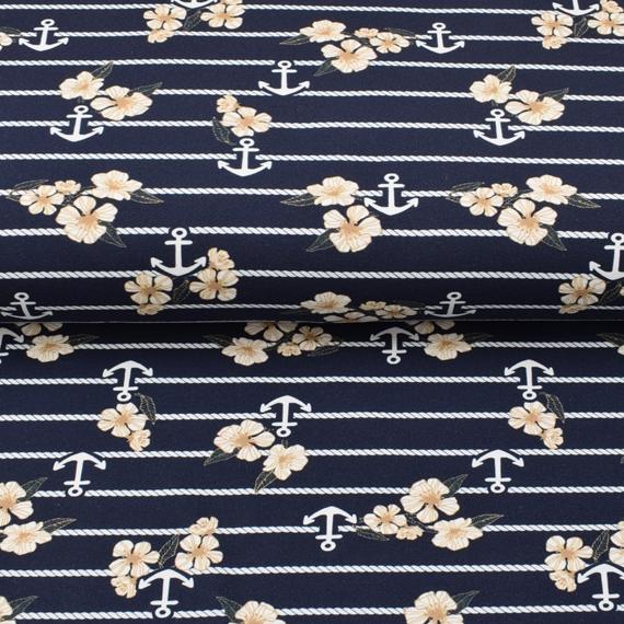 French Terry - Sommersweat Stoff - Motivsweat - Maritim - Blüten und Anker auf Navy