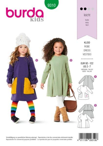 Burda Kids 9310 Schnittmuster Kleid (Kinder Gr. 92-122) Level 2 leicht