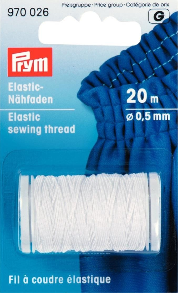 Elastic-Nähfaden 0,5 mm, 20 m weiß