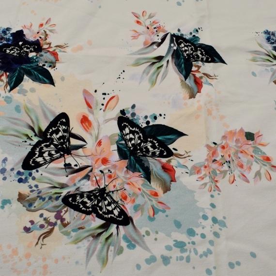 French Terry - Sommersweat Stoff - Motiv Sweat - Schmetterling auf Blumen - Ecru