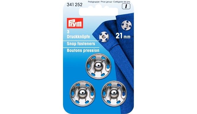 Prym - Annäh-Druckknöpfe MS 21 mm Silber - 341252