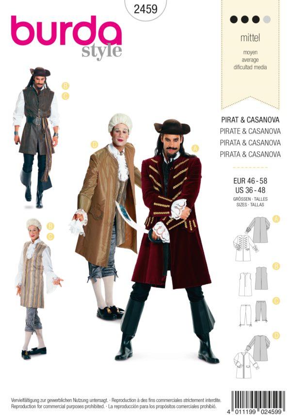 Burda 2459 Schnittmuster Kostüm Fasching Karneval Pirat Casanova (Herren, Gr. 46 - 58) Level 3 mittel