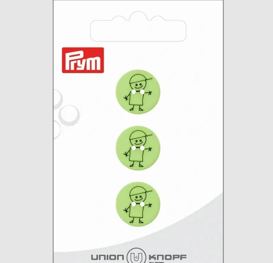 Knopf - Polyesterknopf - Knopf - 2 Loch - 15mm - Junge auf Grün - 4 Stück