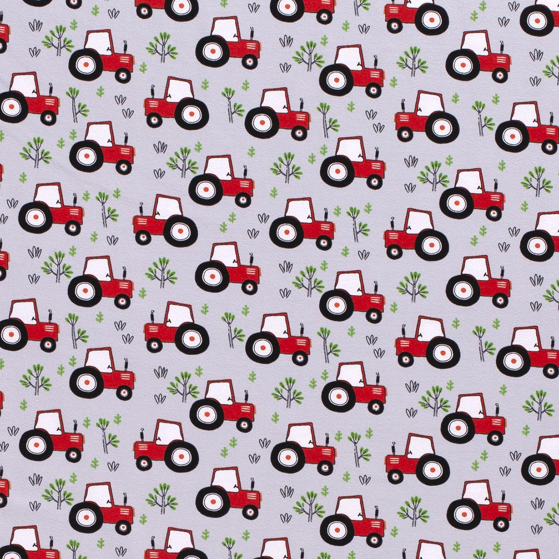 Baumwolljersey - Jersey Stoff - Motivjersey - Traktoren auf Hellgrau