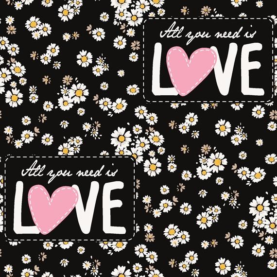 French Terry - Sommersweat Stoff - Motiv Sweat - All you need ist LOVE -  Gänseblümchen auf Schwarz