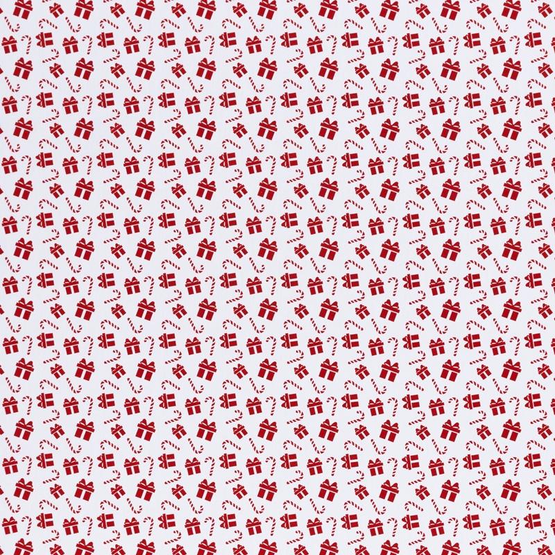 Webware - Baumwoll Stoff - Swafing - Joel - Geschenke und Zuckerstangen in Rot auf Weiß