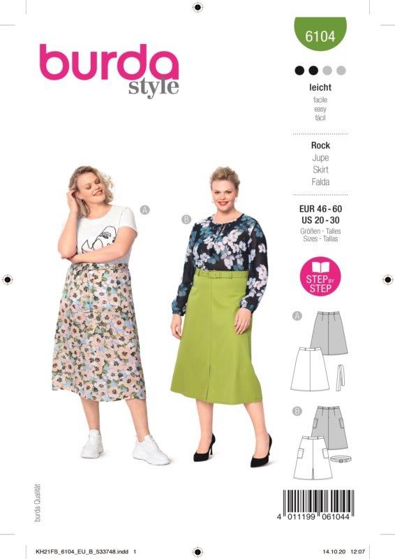 Burda Style 6104 Schnittmuster - Rock - Damen 46 - 60 - Level 2 Leicht