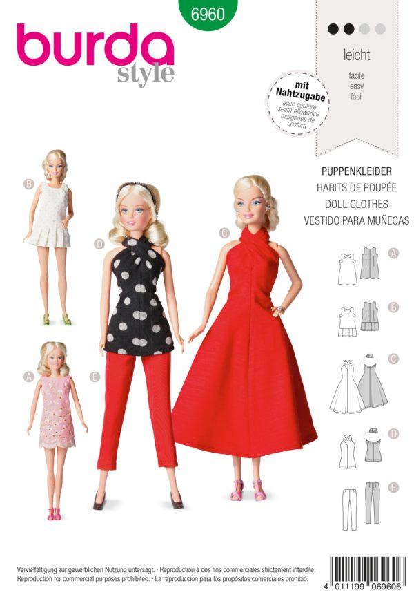 Burda 6960 Schnittmuster Puppenkleid Barbie (Puppen, Gr. one size) Level 2 leicht