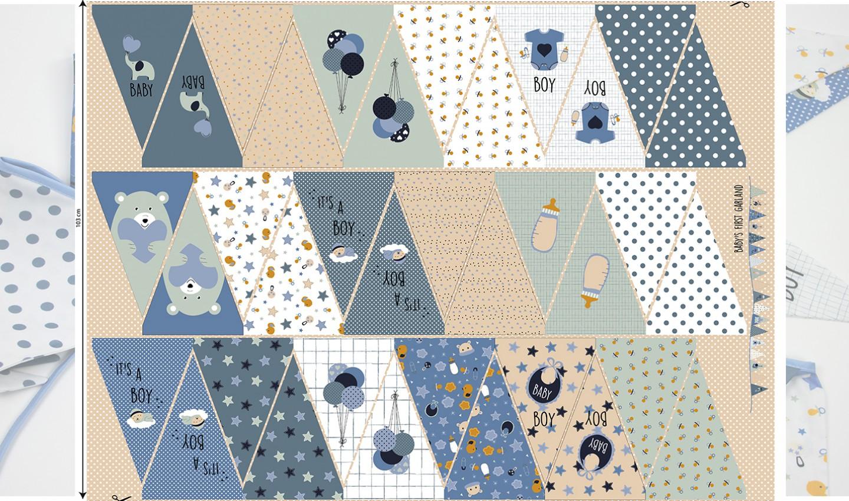Baumwolle - Baumwoll Stoff - Panel 103cm - Baby Boy - Wimpelkette