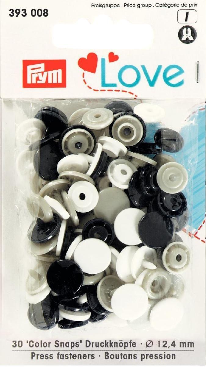 Druckknopf Color, Prym Love, 12,4mm, schwarz/grau/weiß - 393008