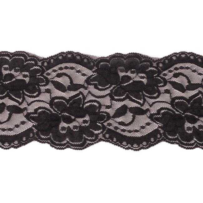 Elastische Spitze - 9,5 cm -  Schwarz