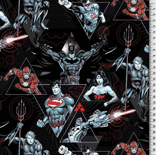 Baumwolljersey - Motivjersey - Lizenz - Superhelden auf Schwarz