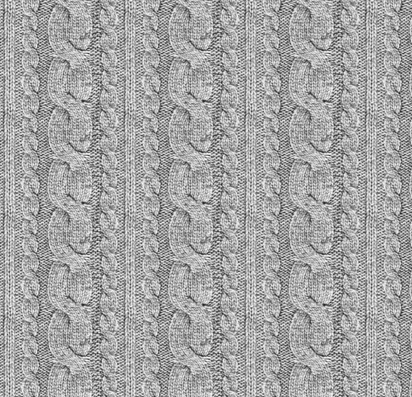 Sommersweat Stoff - French Terry - Digitaldruck - Zopfstrickmuster - Grau